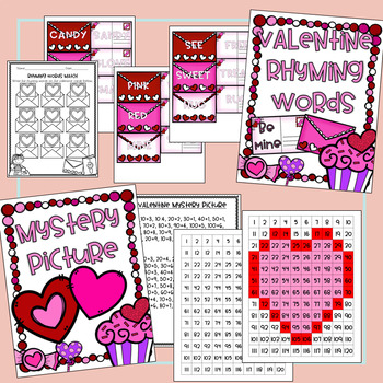 Valentine Themed Activities and Centers for Math and ELA!