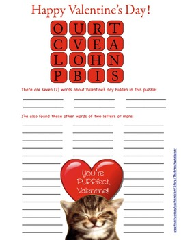 """Happy Valentine's Day (""""How Touching"""" is a bit like Boggle™.)"""