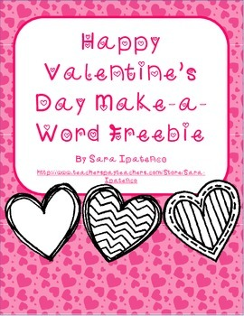 Happy Valentine's Day Make-a-Word Freebie