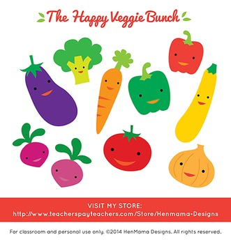 Happy Veggie Bunch Clip Art (cute and colorful vegetable set!)