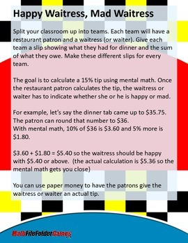 Happy Waitress, Mad Waitress - Tipping a Waitress With Mental Math