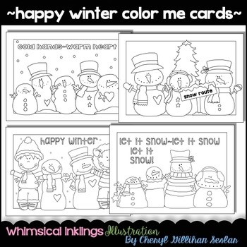 Happy Winter Snowman Color Me Cards