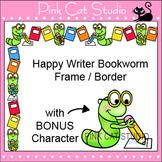 Borders - Happy Writer Bookworm Frame / Border Clip Art - Commercial Use Okay