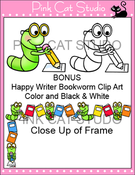 Borders - Happy Writer Bookworm Frame / Border Clip Art - Commercial Use Okay