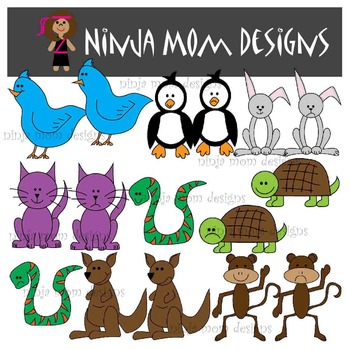 Happy and Sad Animal Clip Art in Color and Black Line