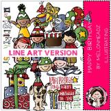 Melonheadz: Happy birthday clip art - LINE ART