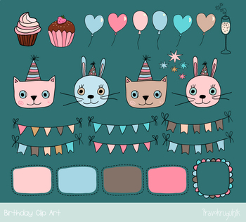 Happy birthday clipart, Doodle cat, bunny clip art, Party bunting flag balloon