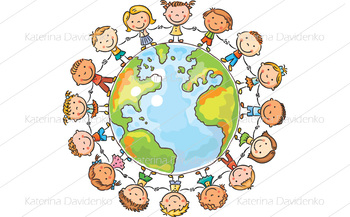 Happy cartoon children round the Globe as a symbol of peace or global communicat