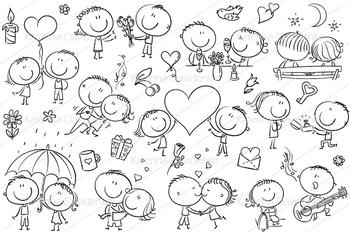Happy cartoon couples in love, Valentine's Day set