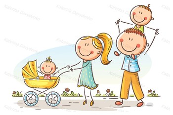 happy cartoon family with two children walking outdoors tpt
