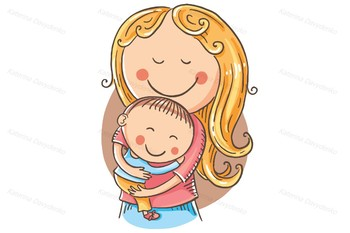 Happy cartoon mother with a child, vector drawing | TpT
