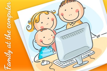 Happy family at the computer together