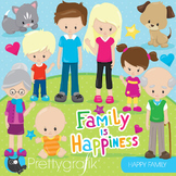 Happy family clipart commercial use, graphics, digital clip art - CL853