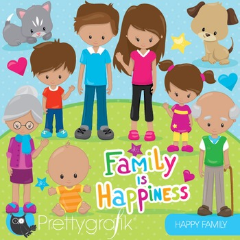 Happy family clipart commercial use, graphics, digital clip art - CL855