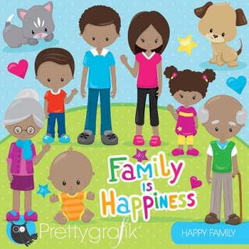 Happy family clipart commercial use, graphics, digital clip art - CL856