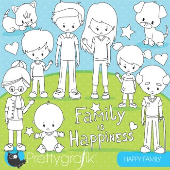 Happy family stamps commercial use, vector graphics, images - DS853