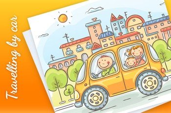 Happy family travelling by car in the city