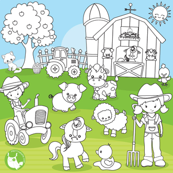 Happy farm stamps commercial use, vector graphics, images  - DS1120