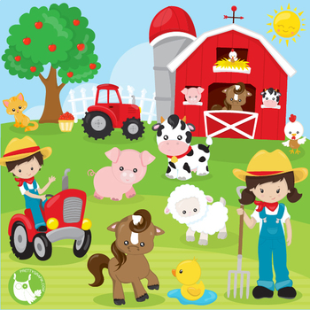 Happy farms clipart commercial use, vector graphics ...