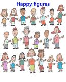 Happy students, happy teachers: Cartoon clip art