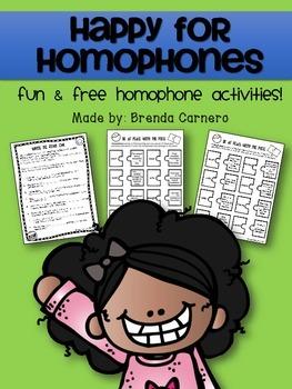 Happy for Homophones FREEBIE