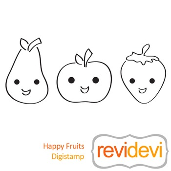 Happy fruits (digital stamp, coloring image) S022