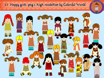 Happy girls clipart