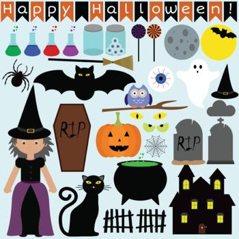 Happy halloween clip art set
