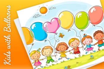 Happy kids outdoors with balloons with copy space