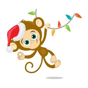 Happy monkey, christmas, New Year holidays, digital clip art