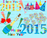Happy new year 2015 school Clip Art invitation party fireworks glasses -023-