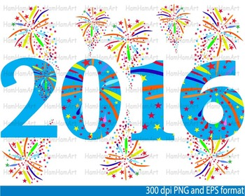 Happy new year 2016 SCHOOL Clip Art invitation party fireworks balloon -102-