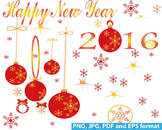 Happy new year 2016 Snowflakes CHRISTMAS ORNAMENT Clip Art invitation party -137