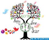 Happy new year 2016 clock  Clip Art invitation party fireworks balloon -143-