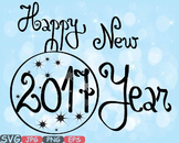 Happy new year 2017 Clip Art svg decorations ornaments word art holiday -451s