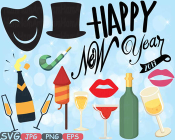 Happy new year 2017 Props Clip Art decorations ornaments Champagne holiday -550s