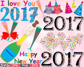 Happy new year 2017 Props Clip Art decorations ornaments C