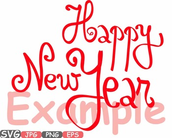 Happy new year Clip Art svg decorations ornaments word art winter holiday -452s
