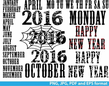 Happy new year Clip art PNG JPG PDF calendar days of the week  Months Cards -138