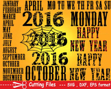 Happy new year EPS SVG DXF calendar days of the week cutting cut monogram -17S-
