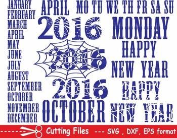 Happy new year EPS SVG DXF calendar days of the week cutting cut monogram -17S-