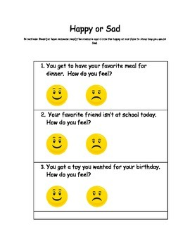 Happy or Sad Worksheet (Created for Autism Support Classroom)