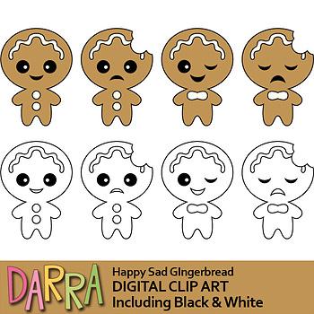 Happy sad gingerbread clip art