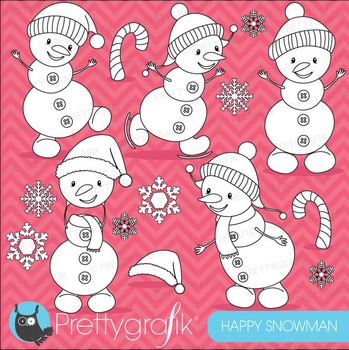 Happy snowman stamps commercial use, vector graphics, images - DS620