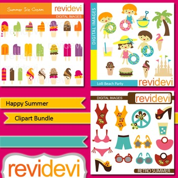 Happy summer clip art bundle (3 packs) ice cream, kids
