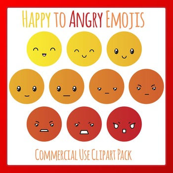 Happy to Angry Emoji Clip Art for Commercial Use - Behavior Management