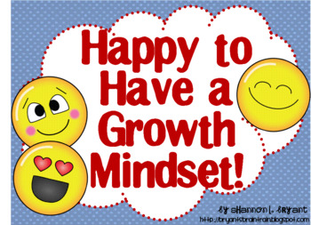 Growth Mindset Posters and Writing (Primary Colors Emoji / Emoticon Theme)