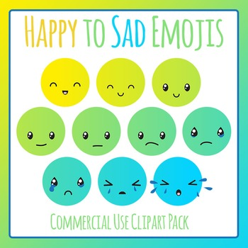 Happy to Sad Emoji Clip Art for Commercial Use - Behavior Management