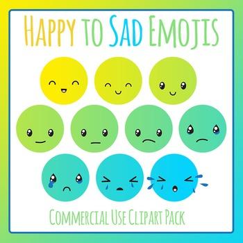 Happy to Sad Emoji Clip Art for Commercial Use - Behavior Management