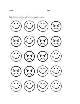 Happy vs. Mad Worksheet